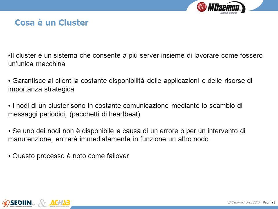 Cosa è un Cluster Il cluster è un sistema che consente a più server insieme di lavorare come fossero un'unica macchina.