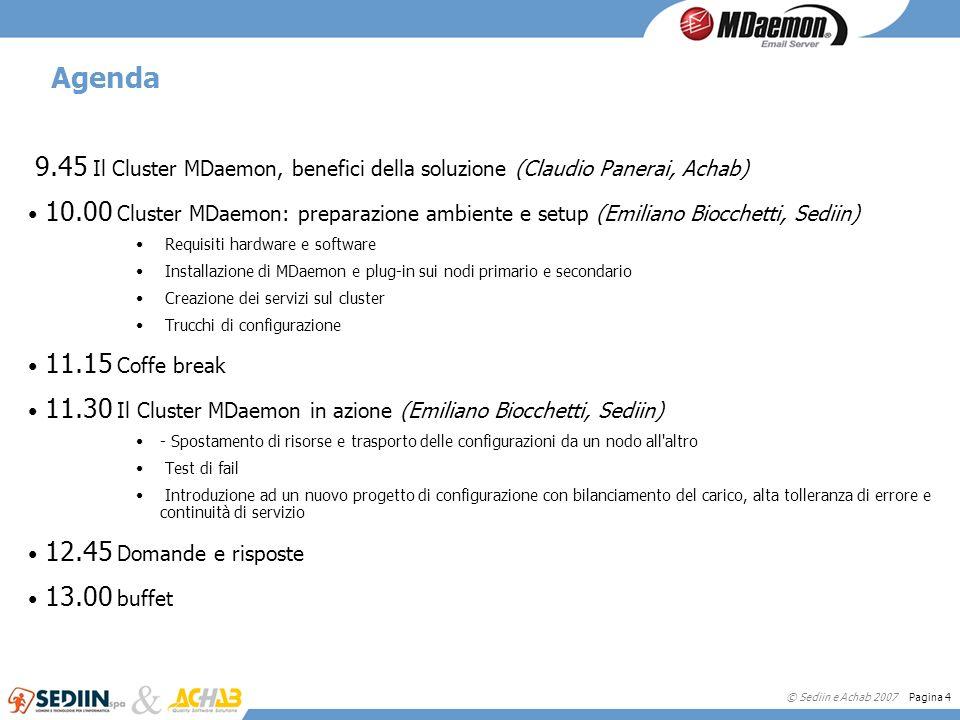 Agenda 9.45 Il Cluster MDaemon, benefici della soluzione (Claudio Panerai, Achab)