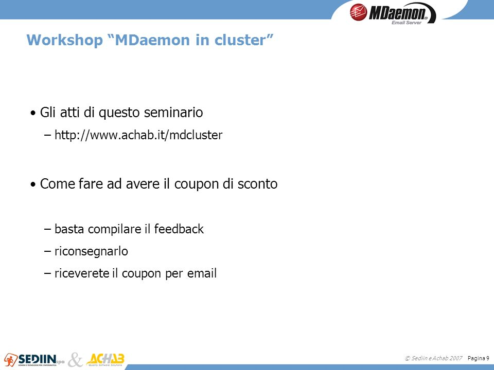 Workshop MDaemon in cluster