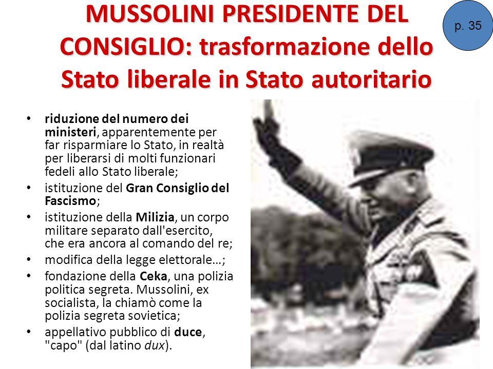 p. 35 MUSSOLINI PRESIDENTE DEL CONSIGLIO: trasformazione dello Stato liberale in Stato autoritario.