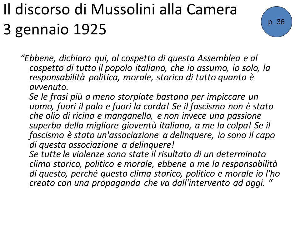 Il discorso di Mussolini alla Camera 3 gennaio 1925