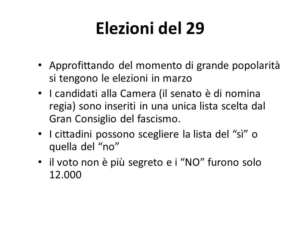 Elezioni del 29 Approfittando del momento di grande popolarità si tengono le elezioni in marzo.