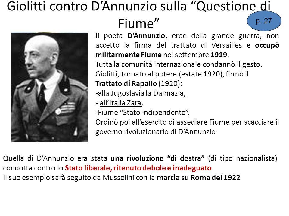 Giolitti contro D'Annunzio sulla Questione di Fiume
