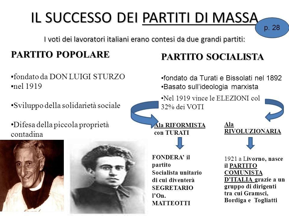 IL SUCCESSO DEI PARTITI DI MASSA I voti dei lavoratori italiani erano contesi da due grandi partiti: