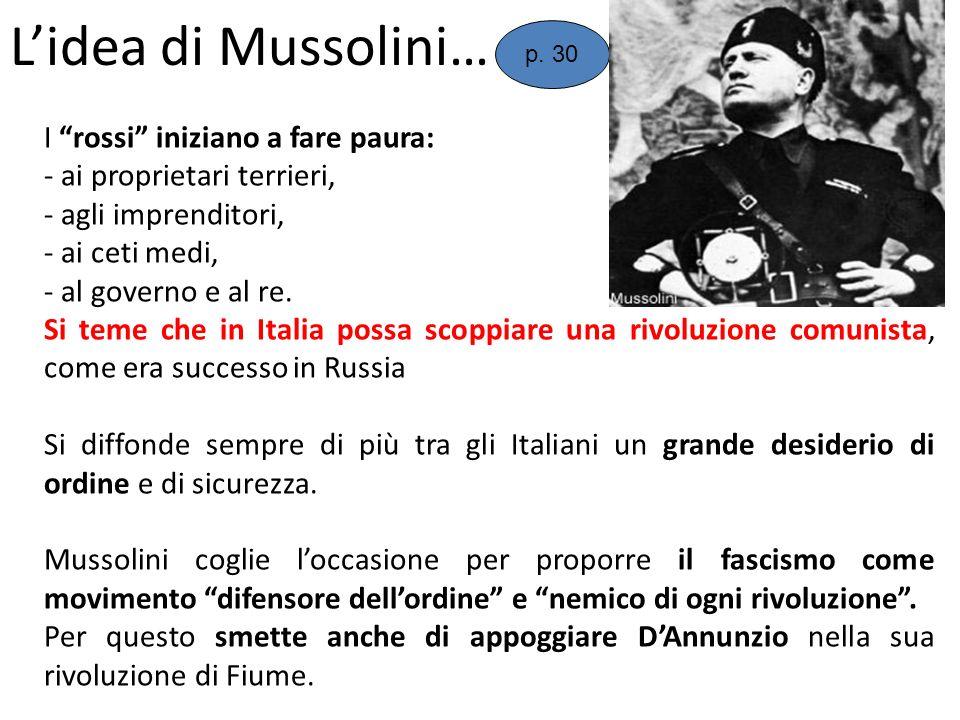 L'idea di Mussolini… I rossi iniziano a fare paura: