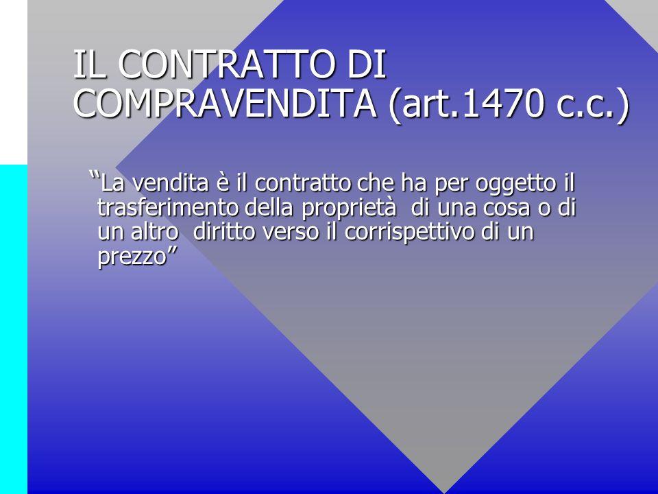 IL CONTRATTO DI COMPRAVENDITA (art.1470 c.c.)