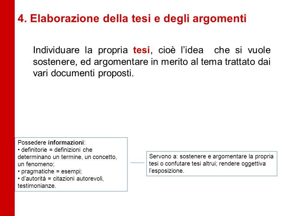 4. Elaborazione della tesi e degli argomenti