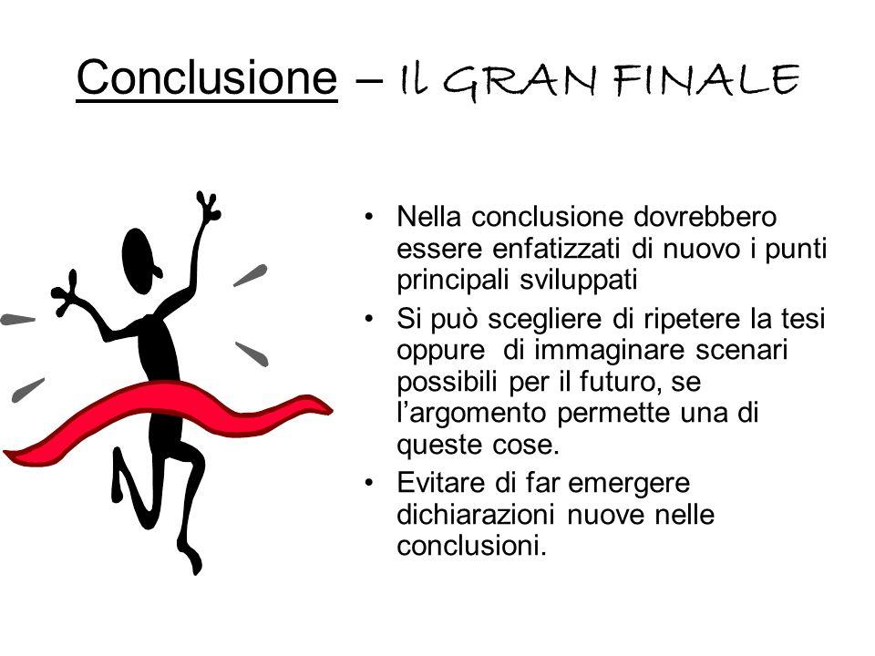 Conclusione – Il GRAN FINALE