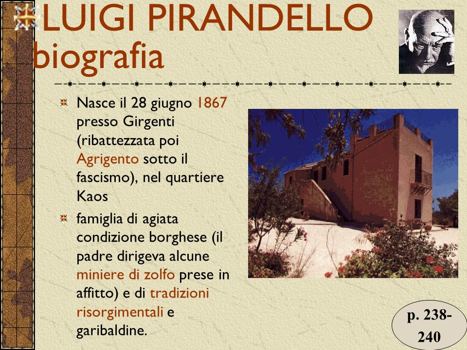 LUIGI PIRANDELLO biografia