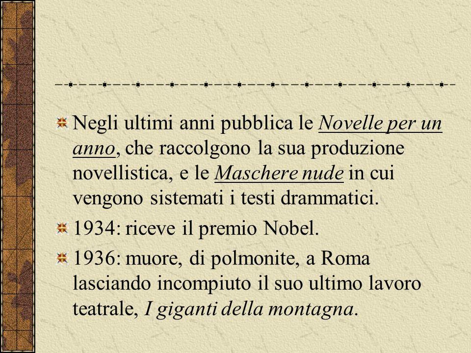 Negli ultimi anni pubblica le Novelle per un anno, che raccolgono la sua produzione novellistica, e le Maschere nude in cui vengono sistemati i testi drammatici.
