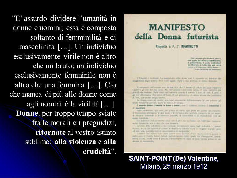 SAINT-POINT (De) Valentine, Milano, 25 marzo 1912