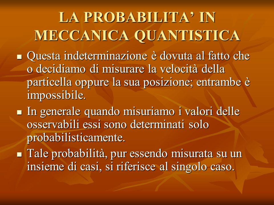 LA PROBABILITA' IN MECCANICA QUANTISTICA