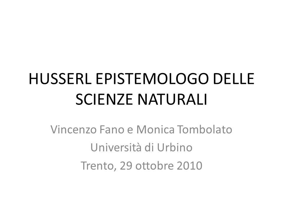 HUSSERL EPISTEMOLOGO DELLE SCIENZE NATURALI
