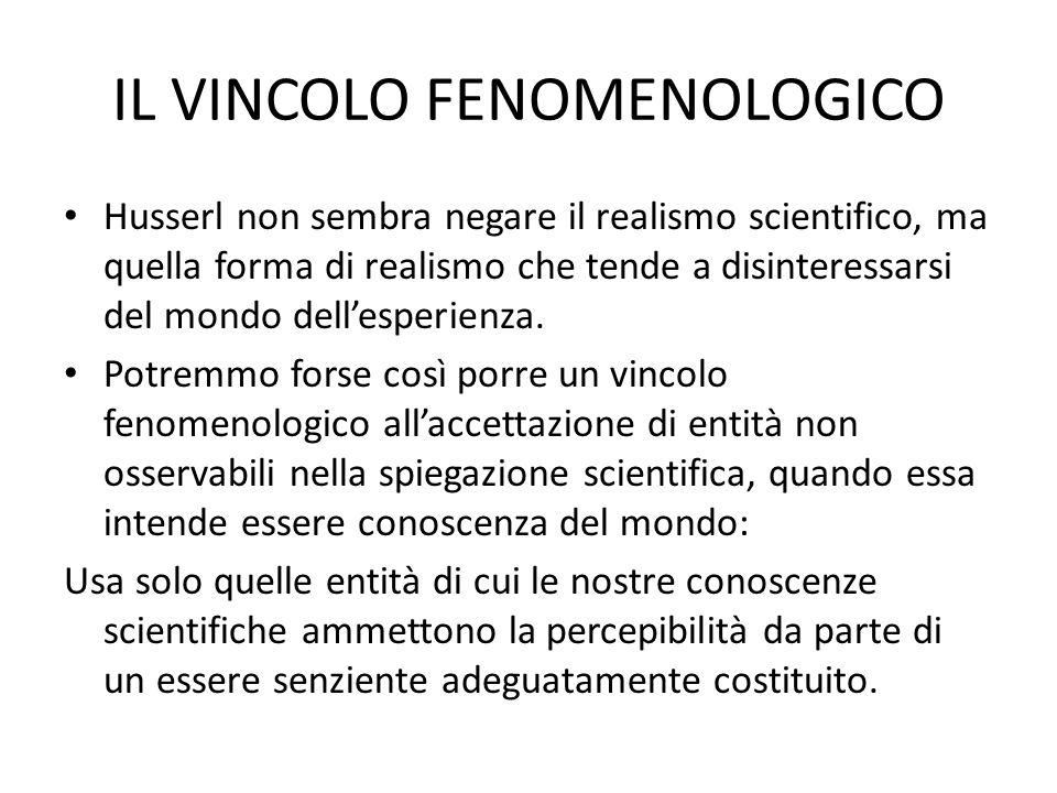 IL VINCOLO FENOMENOLOGICO