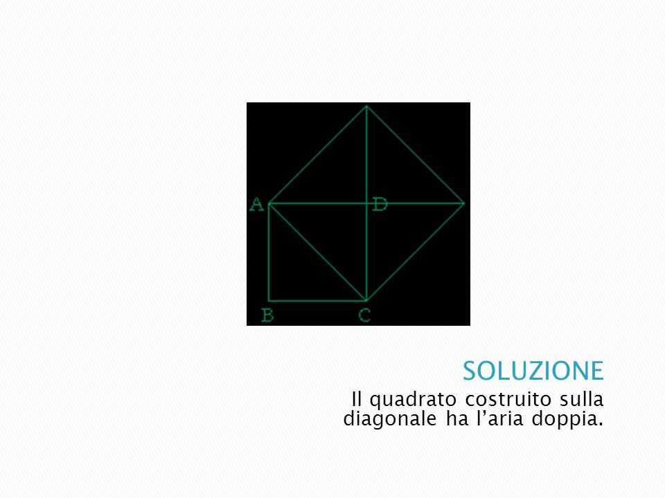SOLUZIONE Il quadrato costruito sulla diagonale ha l'aria doppia.