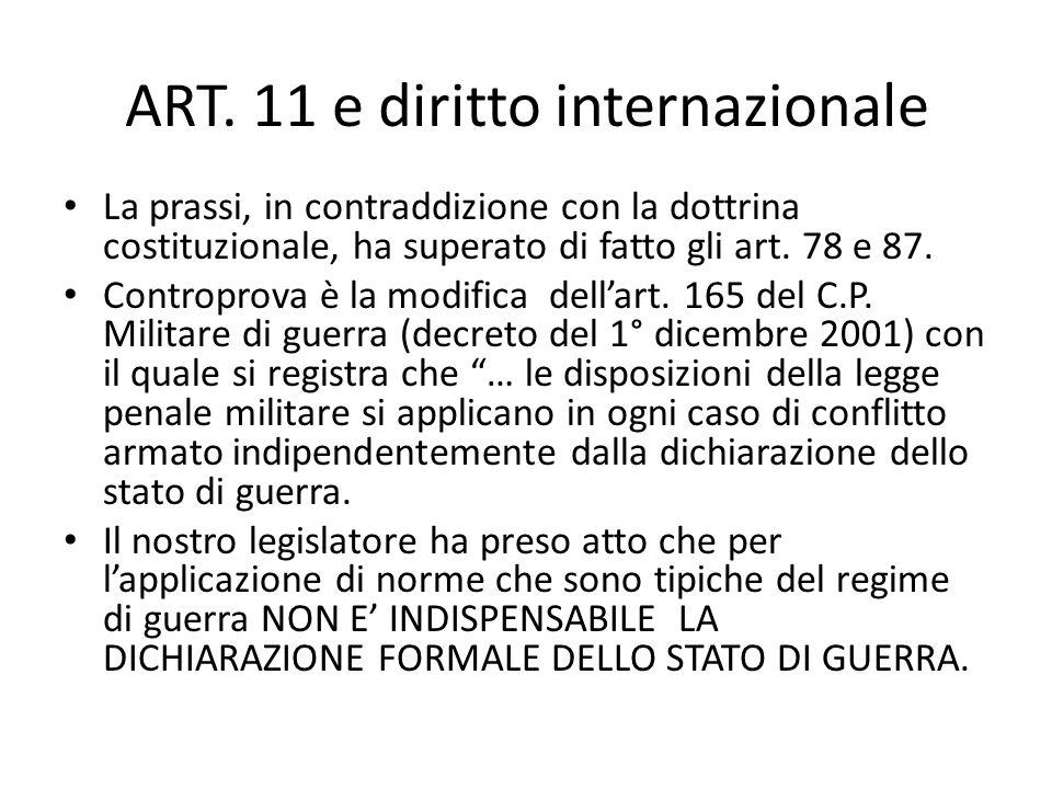 ART. 11 e diritto internazionale