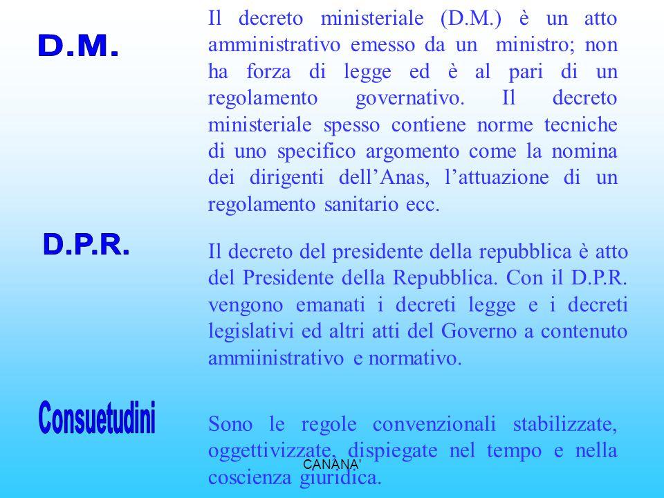 Il decreto ministeriale (D. M