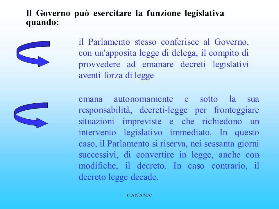 Il Governo può esercitare la funzione legislativa quando: