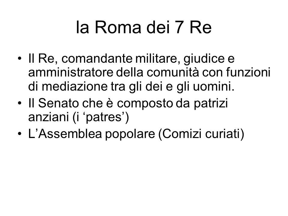la Roma dei 7 Re Il Re, comandante militare, giudice e amministratore della comunità con funzioni di mediazione tra gli dei e gli uomini.