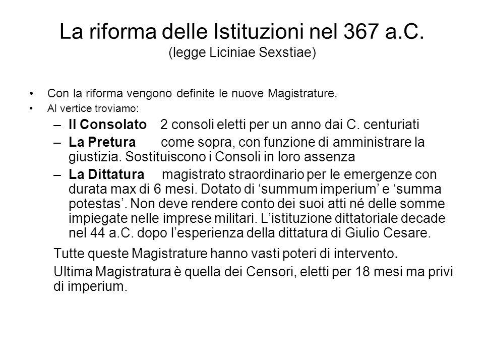 La riforma delle Istituzioni nel 367 a.C. (legge Liciniae Sexstiae)