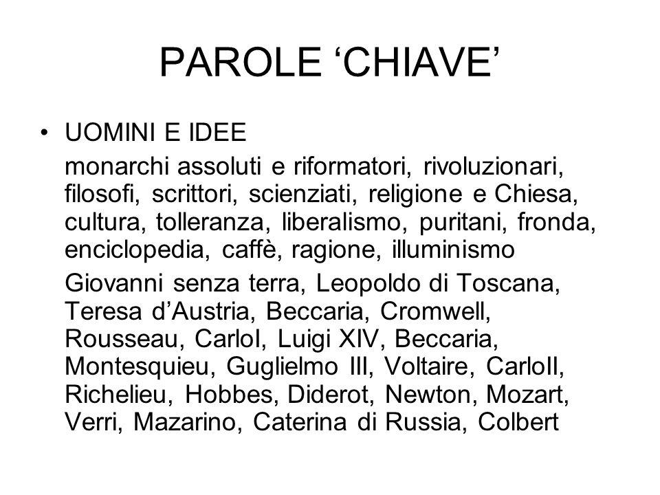 PAROLE 'CHIAVE' UOMINI E IDEE