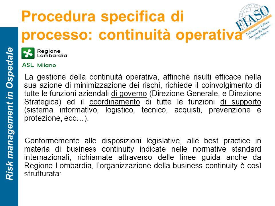 Procedura specifica di processo: continuità operativa