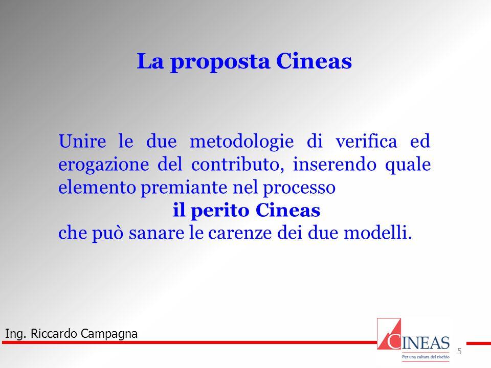 La proposta Cineas Unire le due metodologie di verifica ed erogazione del contributo, inserendo quale elemento premiante nel processo.
