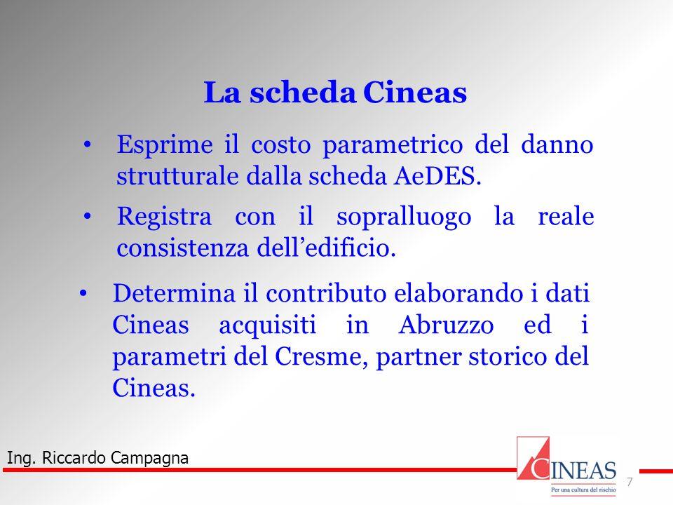 La scheda Cineas Esprime il costo parametrico del danno strutturale dalla scheda AeDES.