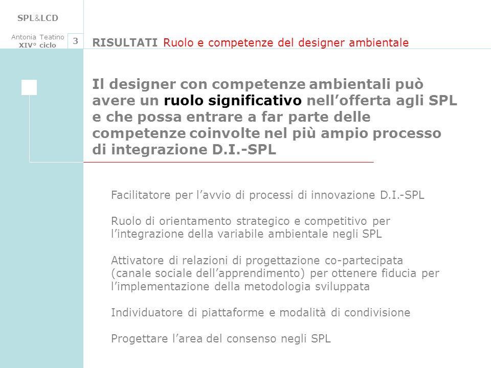 SPL&LCD Antonia Teatino. XIV° ciclo. 3. RISULTATI Ruolo e competenze del designer ambientale.