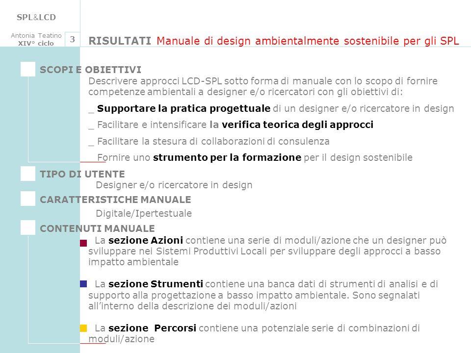 RISULTATI Manuale di design ambientalmente sostenibile per gli SPL