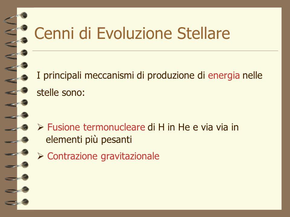 Cenni di Evoluzione Stellare