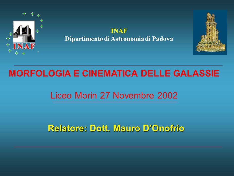 MORFOLOGIA E CINEMATICA DELLE GALASSIE Relatore: Dott. Mauro D'Onofrio