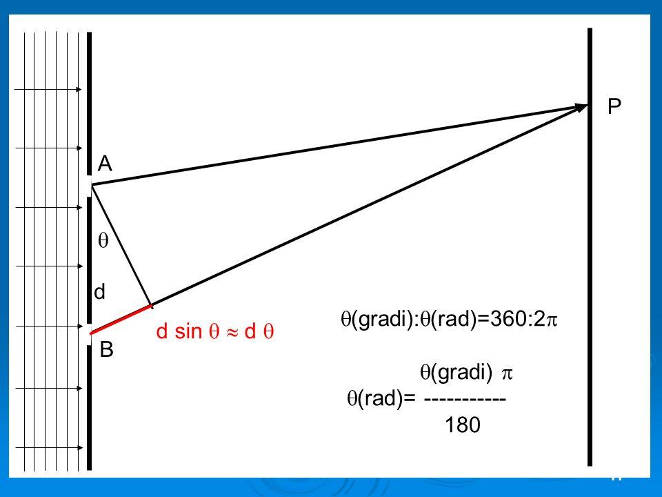 P A  d (gradi):(rad)=360:2 (gradi)  (rad)= ----------- 180 d sin   d  B