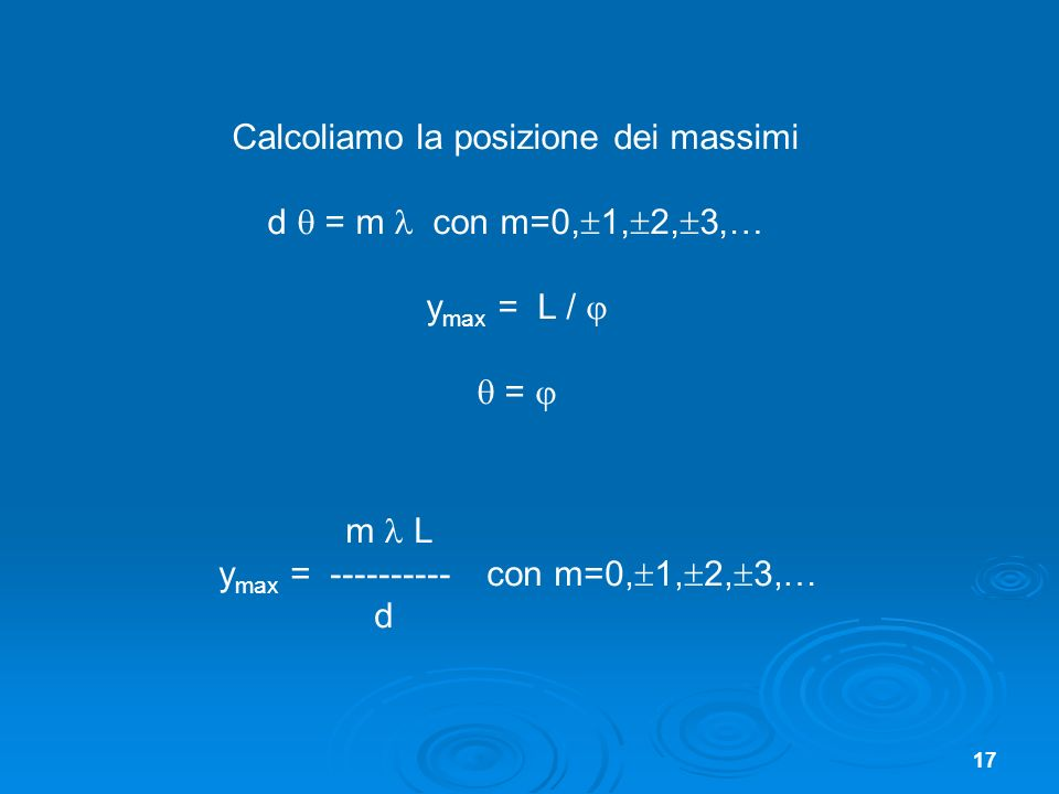 Calcoliamo la posizione dei massimi