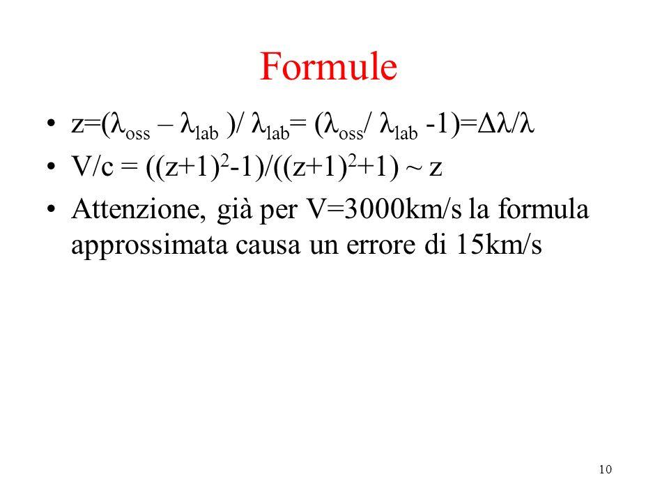 Formule z=(λoss – λlab )/ λlab= (λoss/ λlab -1)=Δλ/λ