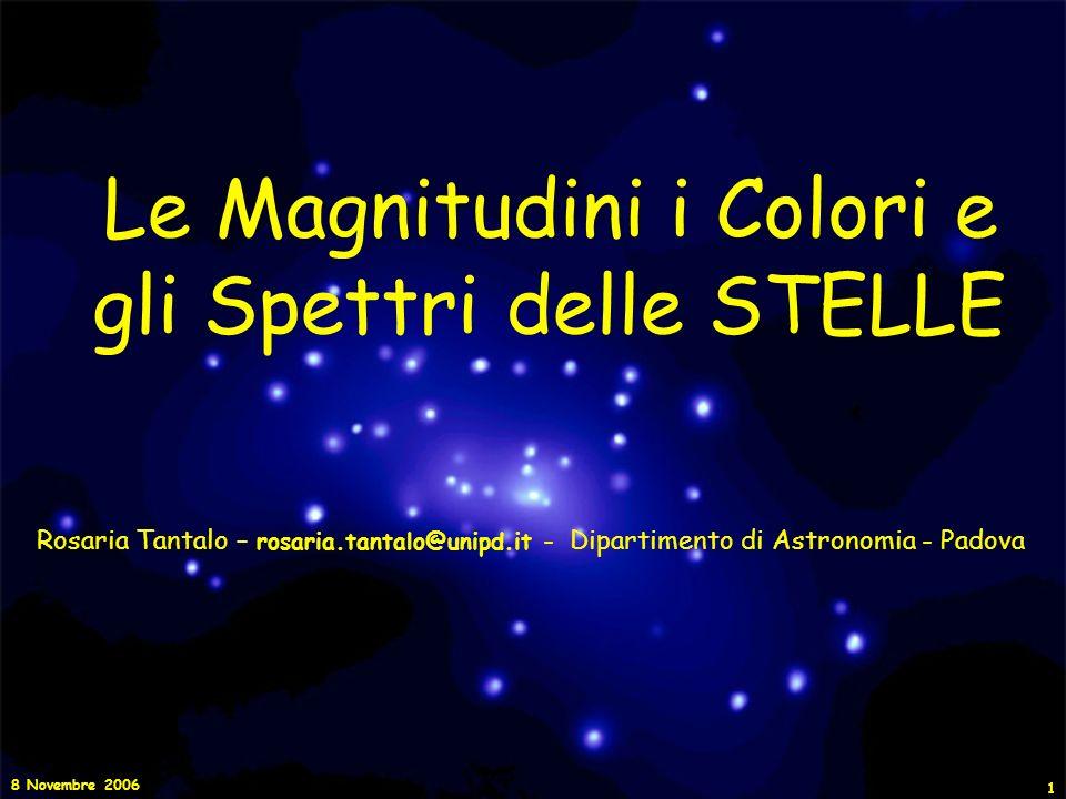 Le Magnitudini i Colori e gli Spettri delle STELLE