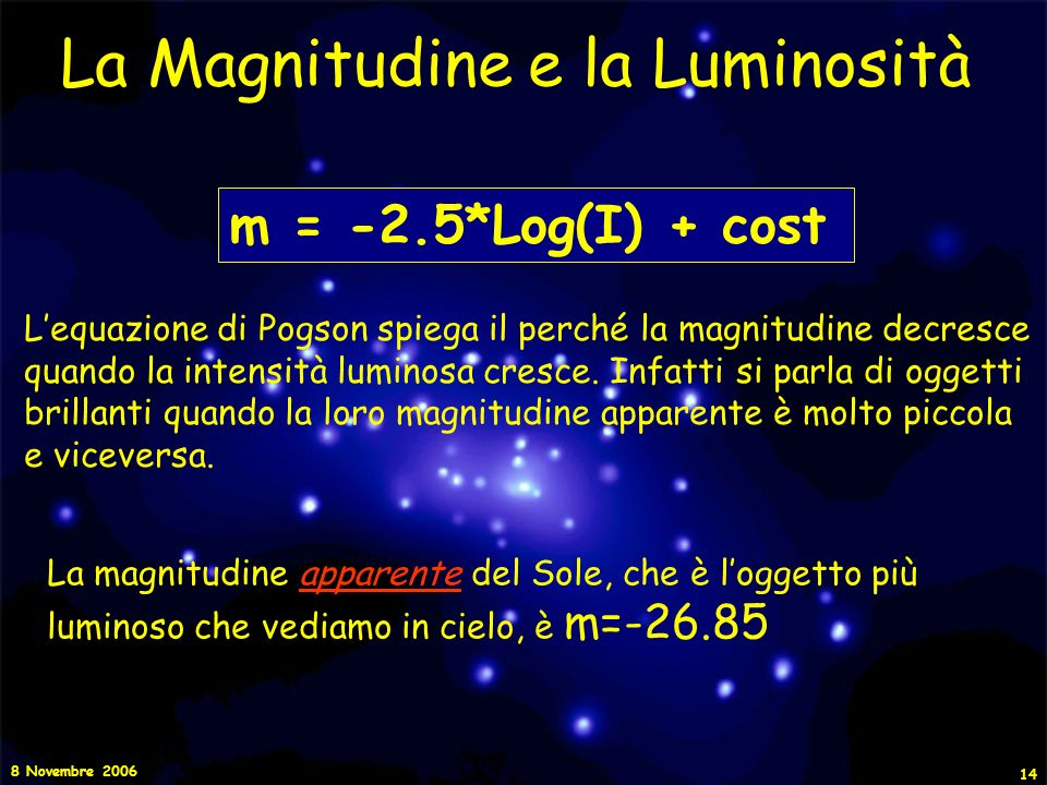 La Magnitudine e la Luminosità