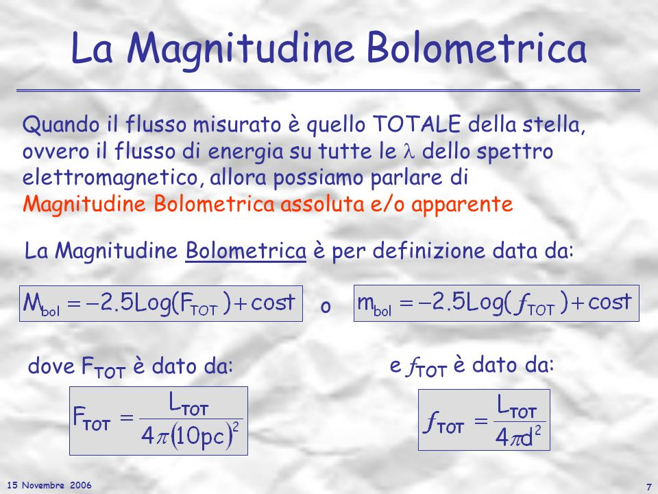 La Magnitudine Bolometrica