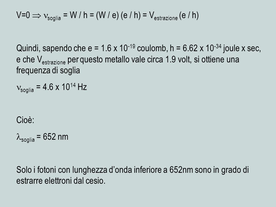 V=0  soglia = W / h = (W / e) (e / h) = Vestrazione (e / h)