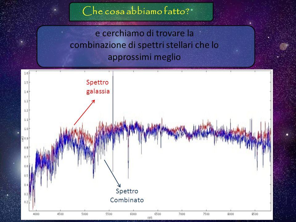 Che cosa abbiamo fatto e cerchiamo di trovare la combinazione di spettri stellari che lo approssimi meglio.