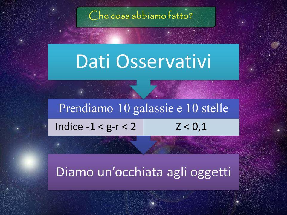 Dati Osservativi Prendiamo 10 galassie e 10 stelle