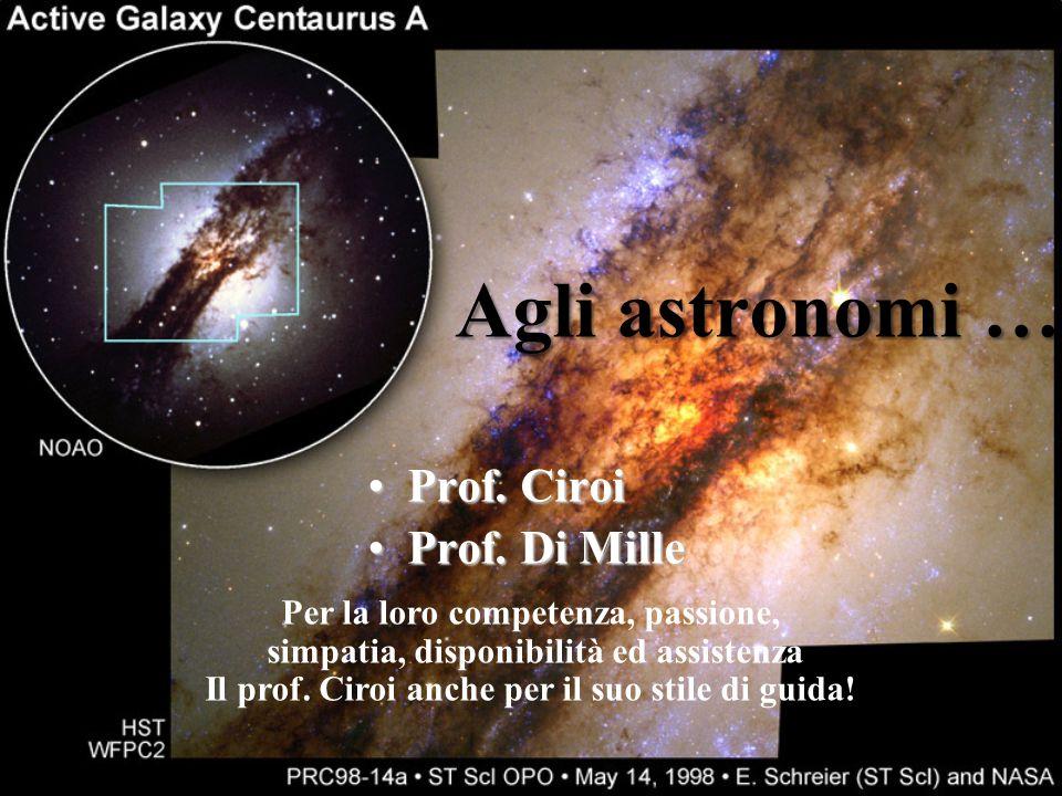 Agli astronomi … Prof. Ciroi Prof. Di Mille