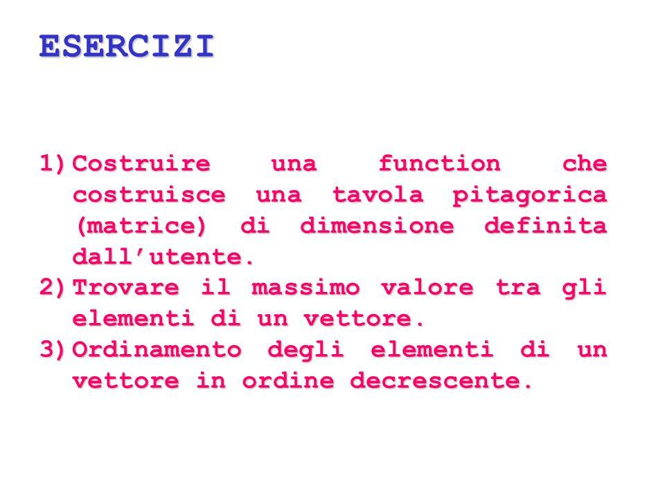ESERCIZI Costruire una function che costruisce una tavola pitagorica (matrice) di dimensione definita dall'utente.