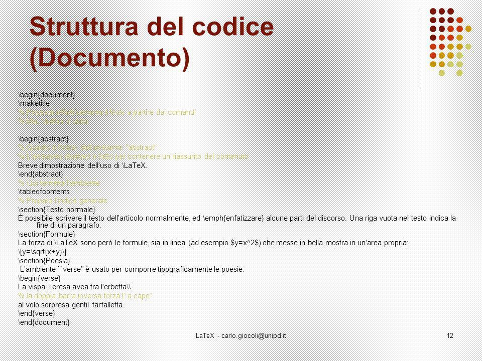 Struttura del codice (Documento)