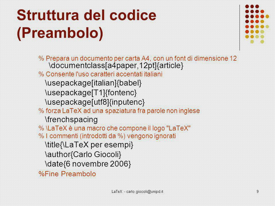 Struttura del codice (Preambolo)