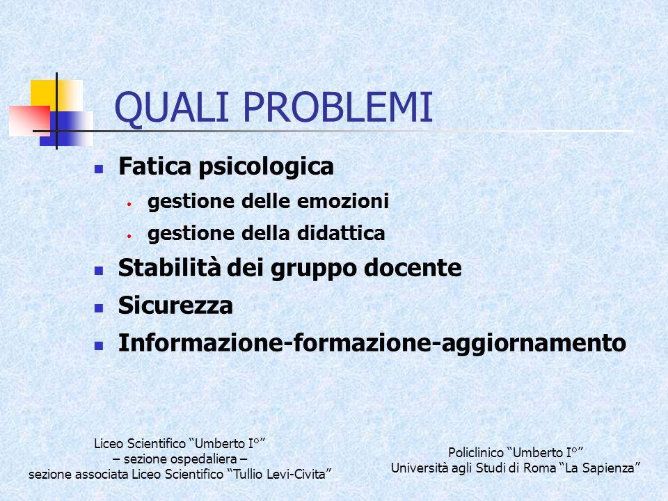 QUALI PROBLEMI Fatica psicologica Stabilità dei gruppo docente