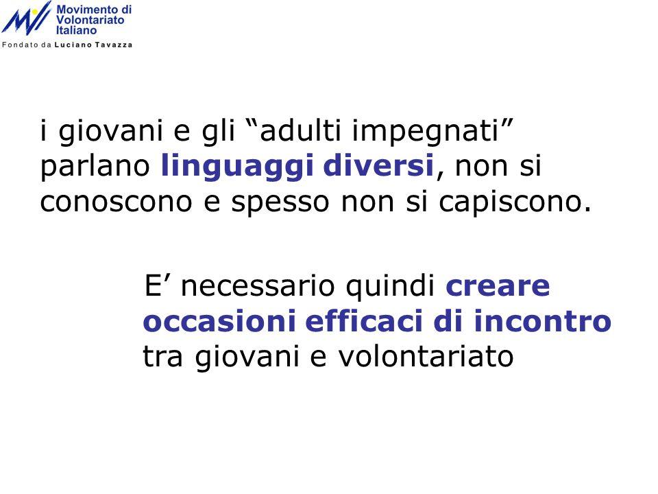 i giovani e gli adulti impegnati parlano linguaggi diversi, non si conoscono e spesso non si capiscono.