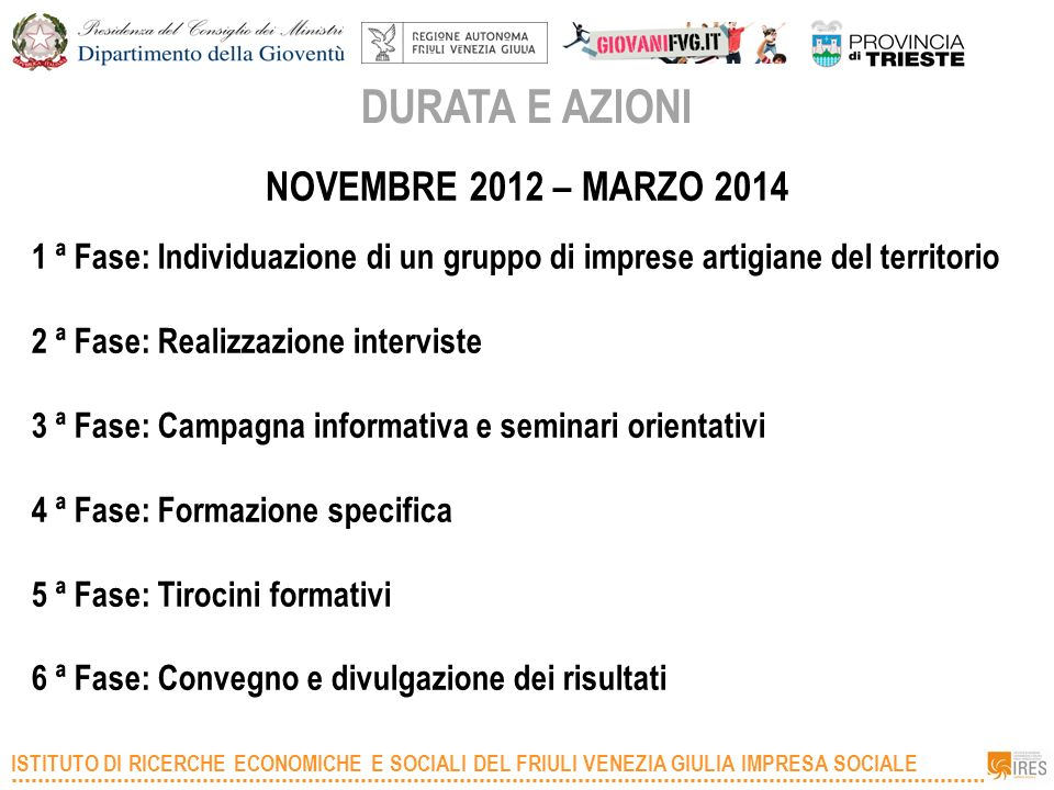 DURATA E AZIONI NOVEMBRE 2012 – MARZO 2014