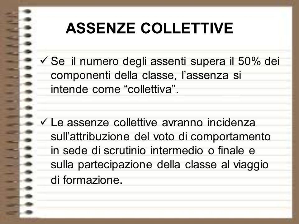 ASSENZE COLLETTIVE Se il numero degli assenti supera il 50% dei componenti della classe, l'assenza si intende come collettiva .