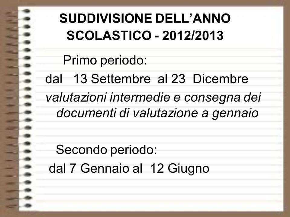 SUDDIVISIONE DELL'ANNO SCOLASTICO - 2012/2013